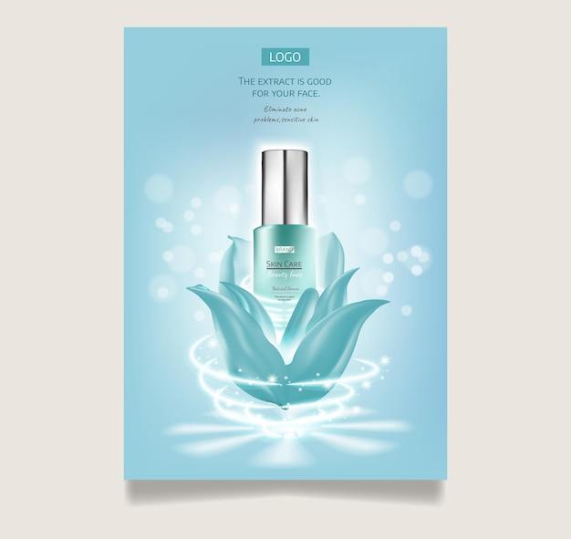 Cosmetische set advertenties hemelsblauw pakketontwerp op lichtblauwe achtergrond met glinsterende bokeh en licht