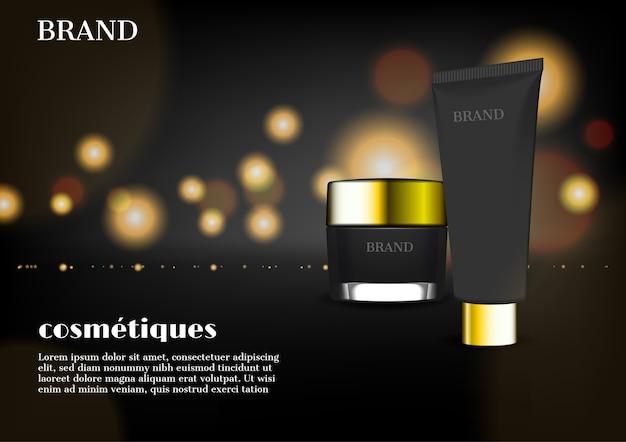 Cosmetische set en goud gloeiende slierten