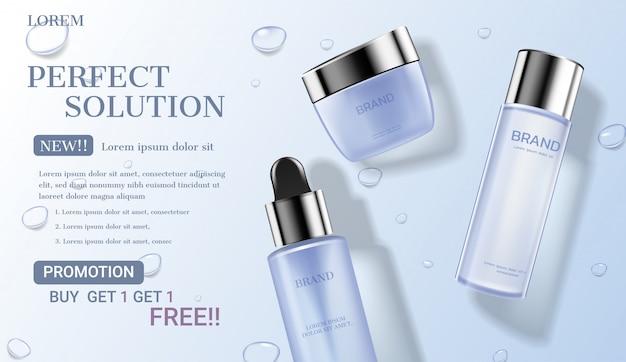 Cosmetische set met waterdruppel achtergrond