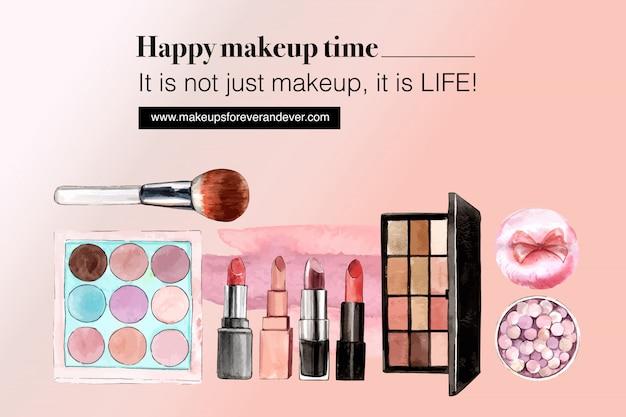 Cosmetische sociale media met oogschaduw, lippenstift, penseel op
