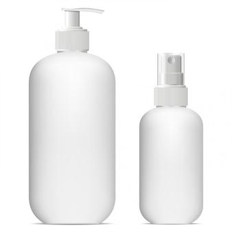 Cosmetische sprayfles mockup. dispenserhouder