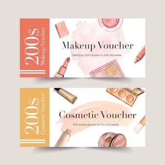 Cosmetische tegoedbon set met lippenstift, penseel, foundation