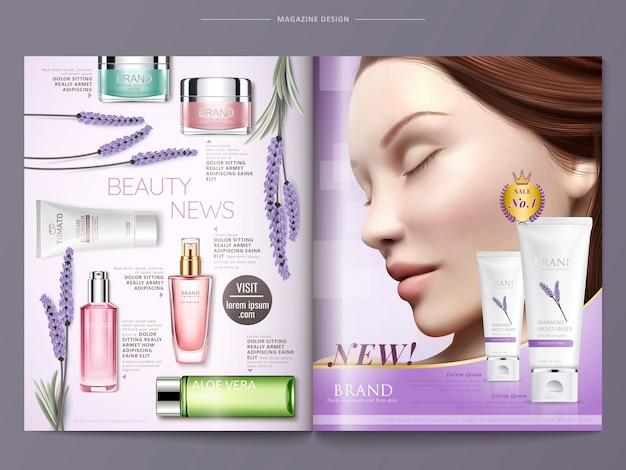 Cosmetische tijdschrift sjabloon illustratie