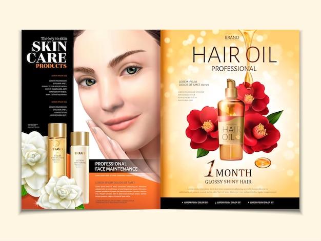 Cosmetische tijdschriftsjabloon, haarolie met elegant model in 3d illustratie, rode en witte camelia geïsoleerd op gouden glitterachtergrond
