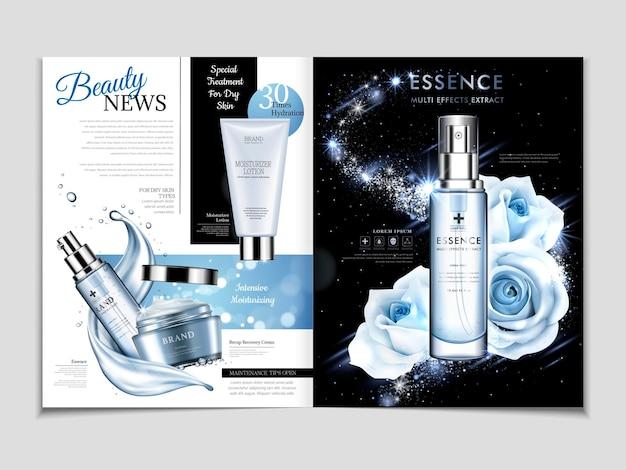 Cosmetische tijdschriftsjabloon, prachtige rozenessentie in blauwe toon geïsoleerd op melkwegachtergrond met stromende vloeistof in 3d illustratie