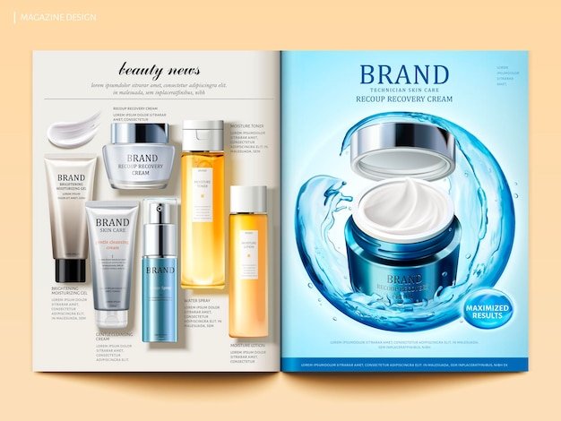 Cosmetische tijdschriftsjabloon, vochtcrèmeproduct met bol samengesteld door stromend water en bovenaanzicht van huidverzorgingsproducten in 3d illustratie