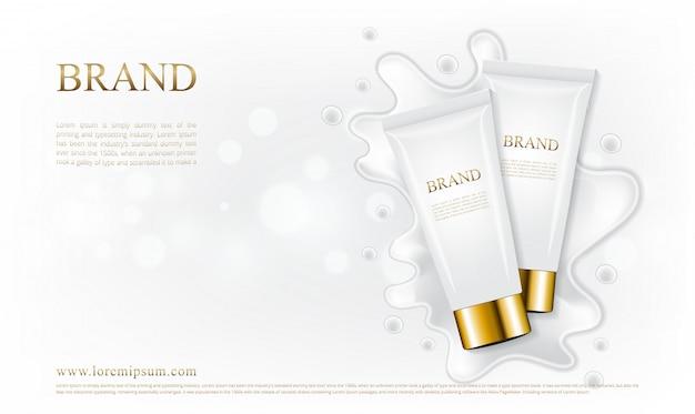 Cosmetische tube huidverzorging met witte crème spatten