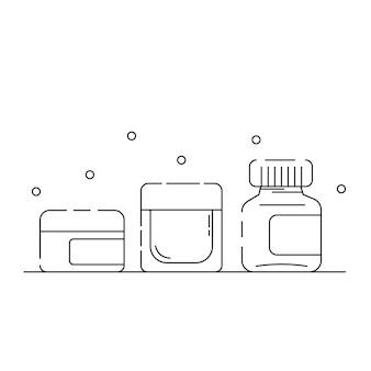 Cosmetische verpakking gerelateerde pictogrammen schetsen op een witte achtergrond
