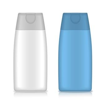 Cosmetische verpakking, plastic shampoo of flesjes met douchegel