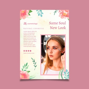 Cosmetische verticale floral flyer-sjabloon
