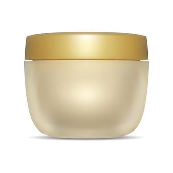 Cosmetische zalfpotje gouden container mockup plastic dop ronde scrub boter buis luxe haarlotion