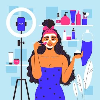 Cosmetologie vrouwensamenstelling met uitzicht op make-upruimte met crèmes, scrubs en beauty video blogger-karakter