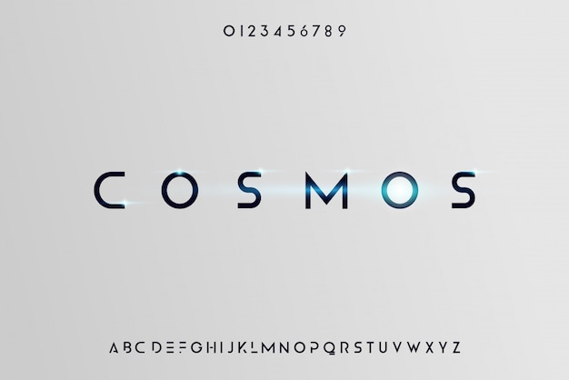 Cosmos, een abstract futuristisch alfabet lettertype met technologie thema. modern minimalistisch typografieontwerp