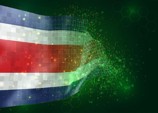 Costa rica, op vector 3d-vlag op groene achtergrond met veelhoeken en gegevensnummers