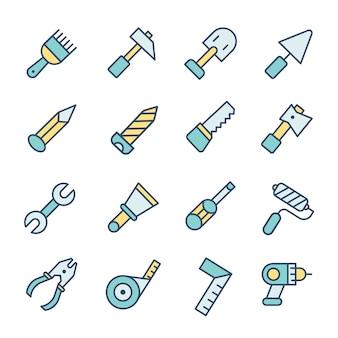 Costruction pictogrammen instellen ontwerp logo illustratie