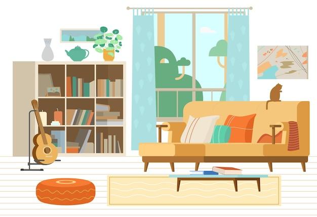 Cosy woonkamer interieur bank boekenkast gitaar