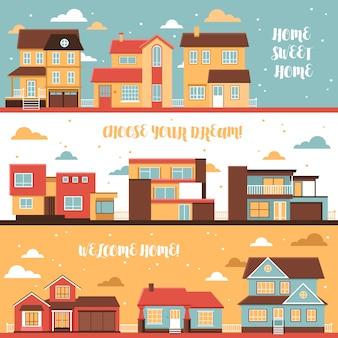 Cottage en dorp huizen horizontale banners
