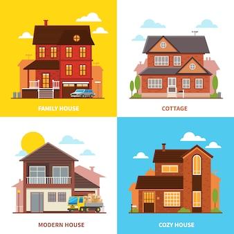 Cottage huis ontwerpconcept