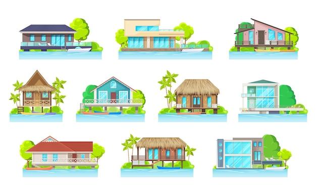 Cottage huizen aan meer of rivier