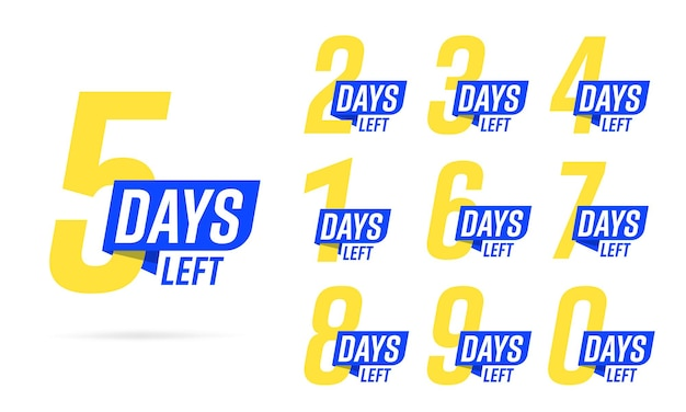 Countdown beperkte tijd in gele en blauwe kleur te koop, aanbieding, promotie of werk