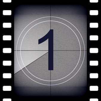 Countdown frame, art design, old film timer count.