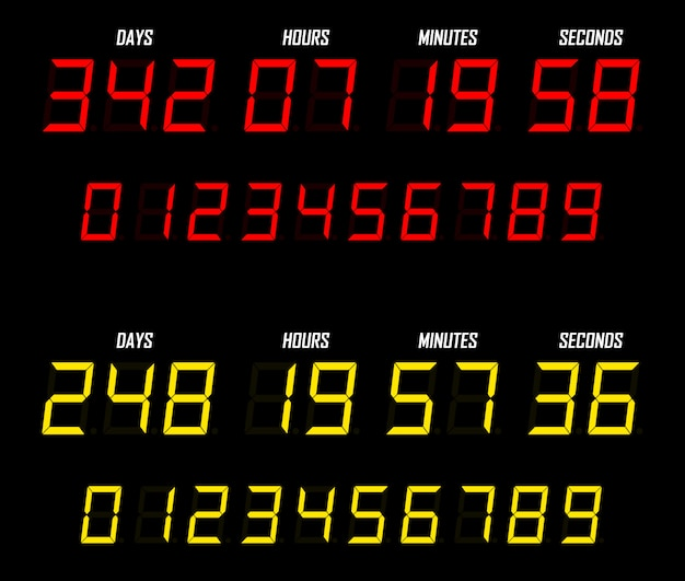 Countdown platte sjabloon digitale klok timer. countdown timer.