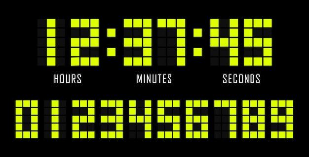 Countdown platte sjabloon digitale klok timer