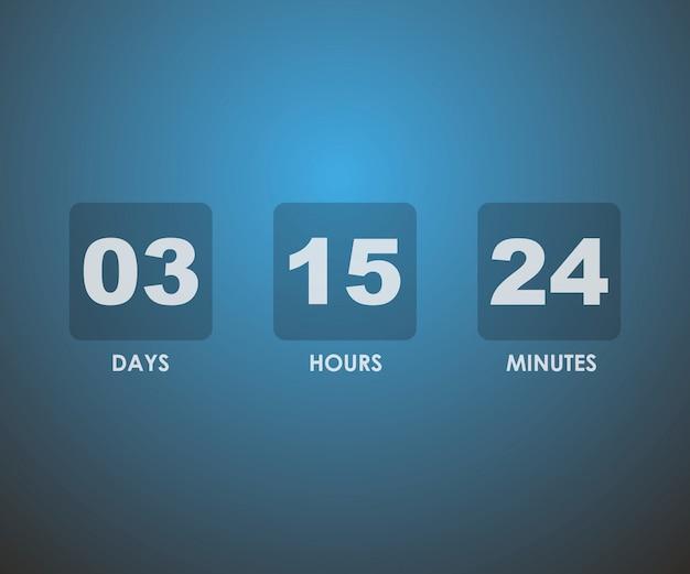 Countdown timer in blauw vierkant
