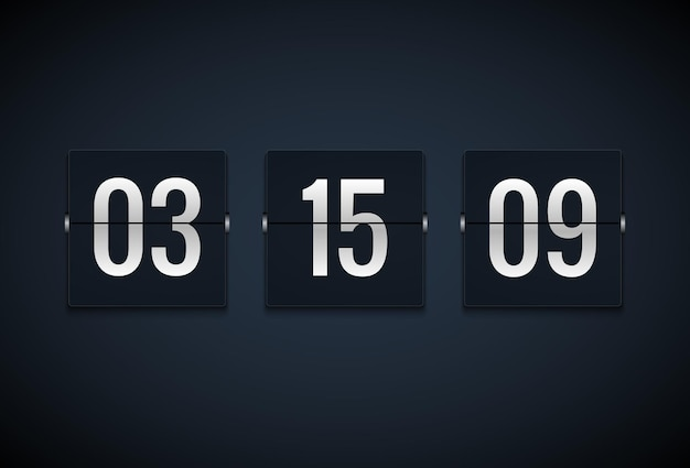 Countdown timer klok teller. flip timer sjabloon. toon informatie van minuut, uur. scorebord info.