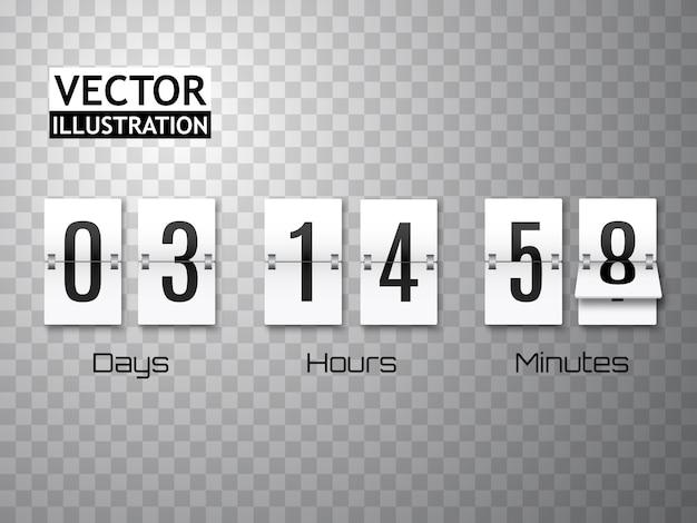Countdown timer met getallen geïsoleerd op transparant. klok teller. sjabloon
