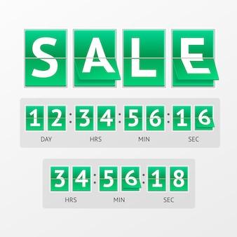 Countdown timer-verkoop. witte tekst op groene borden. mechanisch timtable