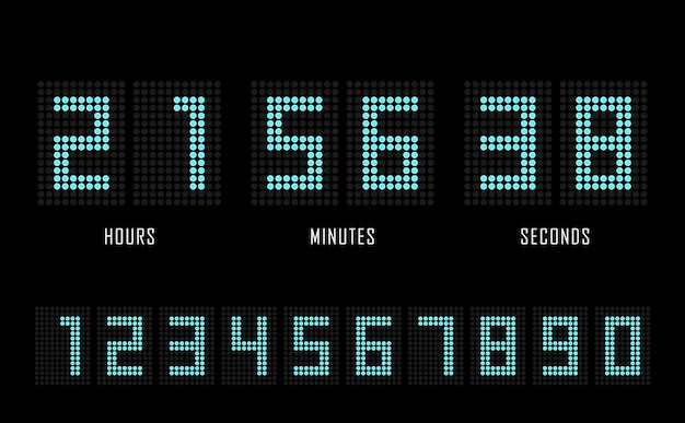 Countdown website platte sjabloon digitale klok timer achtergrond. Premium Vector