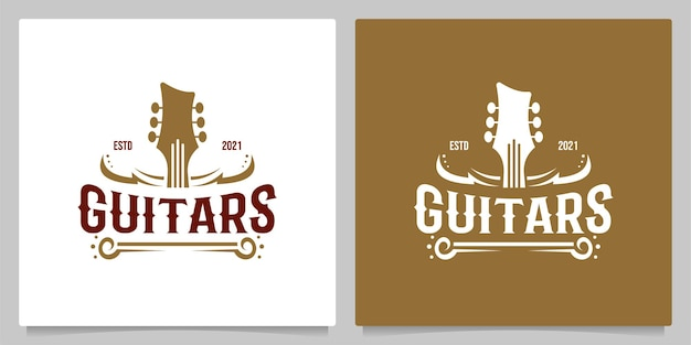 Country gitaar muziek western vintage retro saloon bar cowboy logo ontwerp