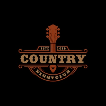 Country muziek bar typografie logo ontwerp