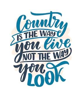 Country muziek belettering citaat voor festival live evenement poster concept. grappige slogan voor cowboyprintontwerp.