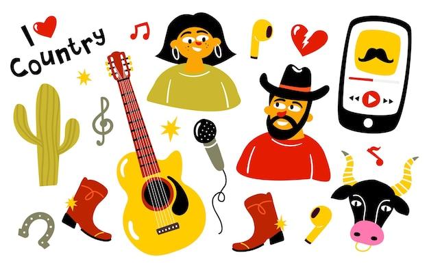 Country muziek doodles set