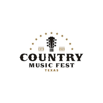 Country muziek western retro logo sjabloon
