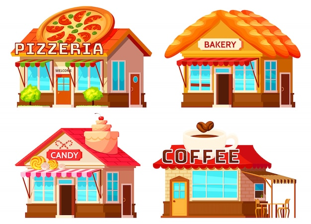 Country shop storefronts icon set