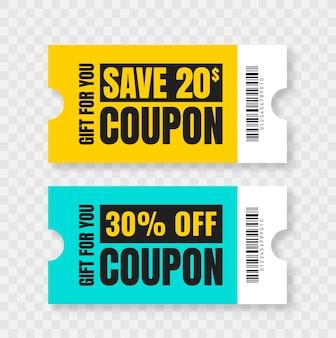 Coupon korting geïsoleerde cadeaubon voor zakelijke set promo coupons