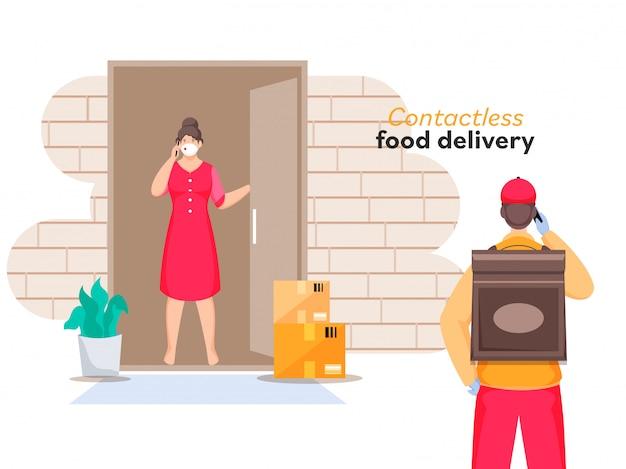 Courier boy informeert u over de levering van bestellingen van telefoon naar klant vrouw die aan de deur staat voor contactloze bezorging van eten.