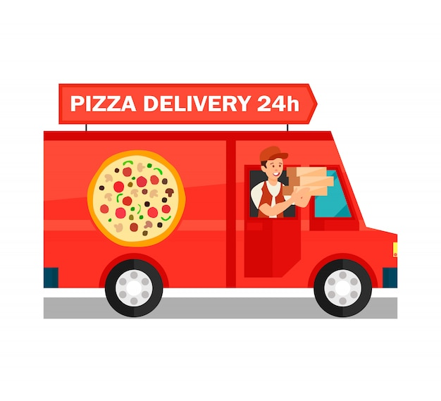 Courier in delivery truck cartoon illustration