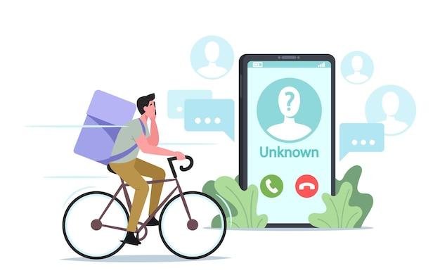 Courier mannelijk personage levert voedseloproep op client-smartphone van onbekend nummer. bezorging in café of restaurant