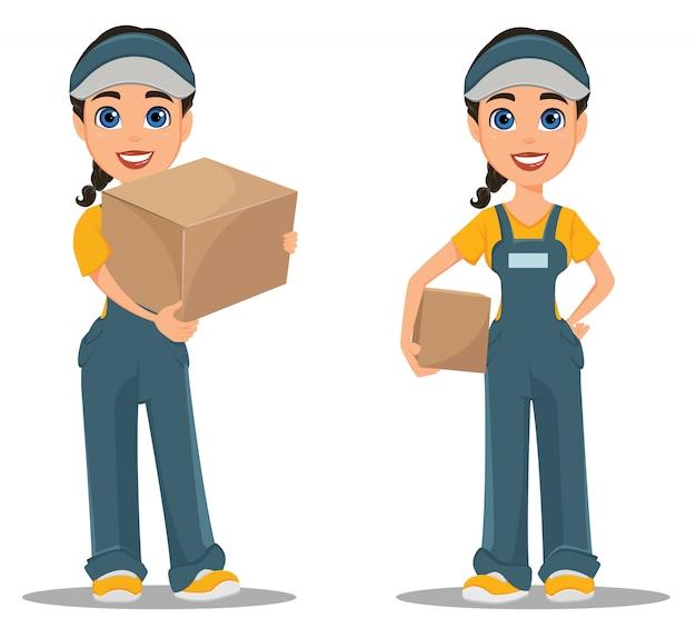 Courier vrouw met kartonnen doos