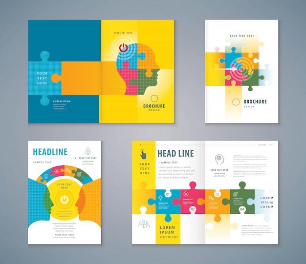 Cover boek ontwerpset, puzzel stukjes en menselijk hoofd achtergrond vector