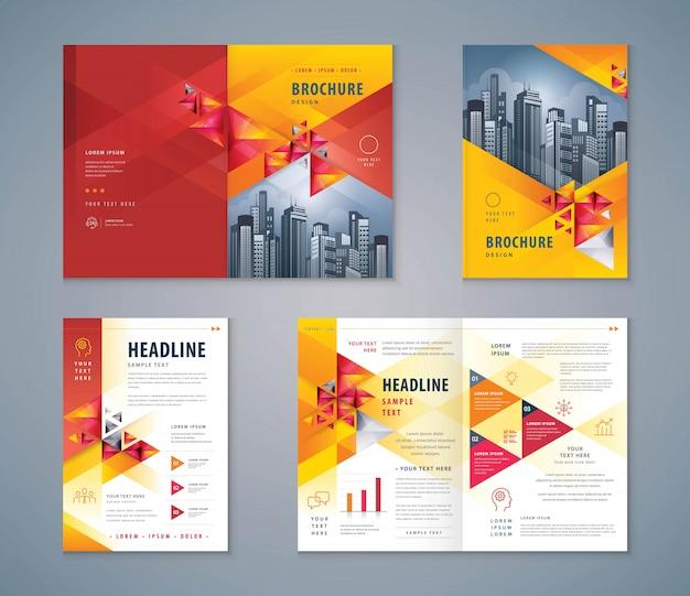 Cover book set met abstracte rode geometrische driehoek