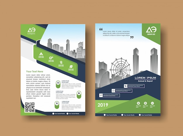 Cover lay-out brochure folder voor evenement en rapport