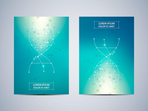 Cover of poster met molecuul achtergrond, wetenschappelijke en technologische concept