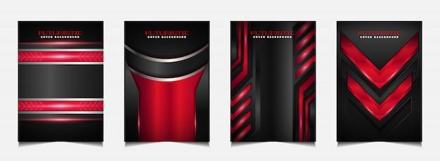 Cover ontwerpsjabloon met futuristische rode en zwarte achtergrond instellen
