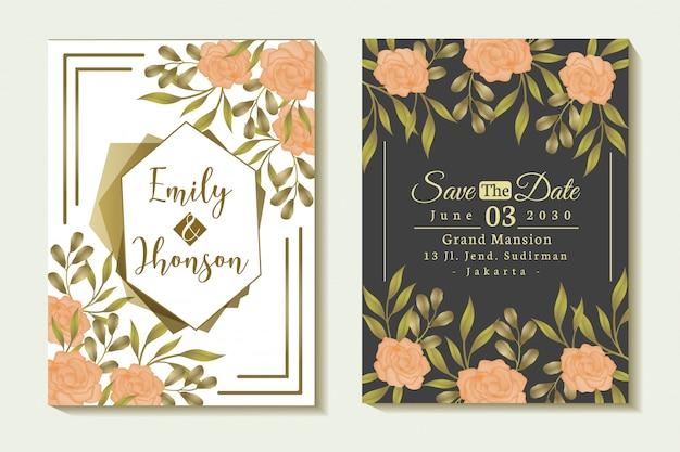 Cover set floral roos frame bruiloft uitnodiging ontwerp
