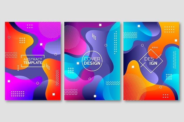 Cover set met abstracte vormen met kleurovergang